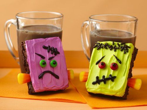 Frankenstein Brownies.  I have made these: they're really simple, but the candy corn doesn't like to push into the brownies and they melt if you don't keep them cool.