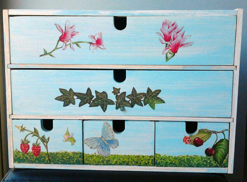 Caja de madera ikea decorada con decoupage de servilletas - Caja joyero ikea ...