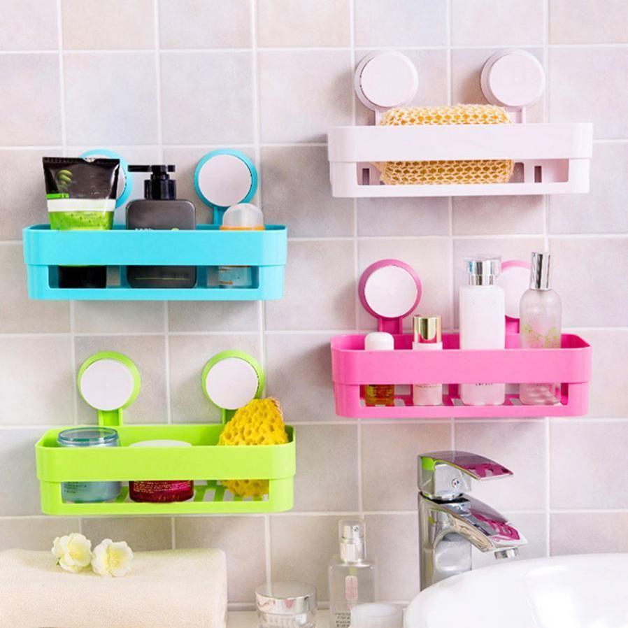 Bon The bathroom Suction Cup Rack Caddies Basket Shower Shelf Corner Tool Home