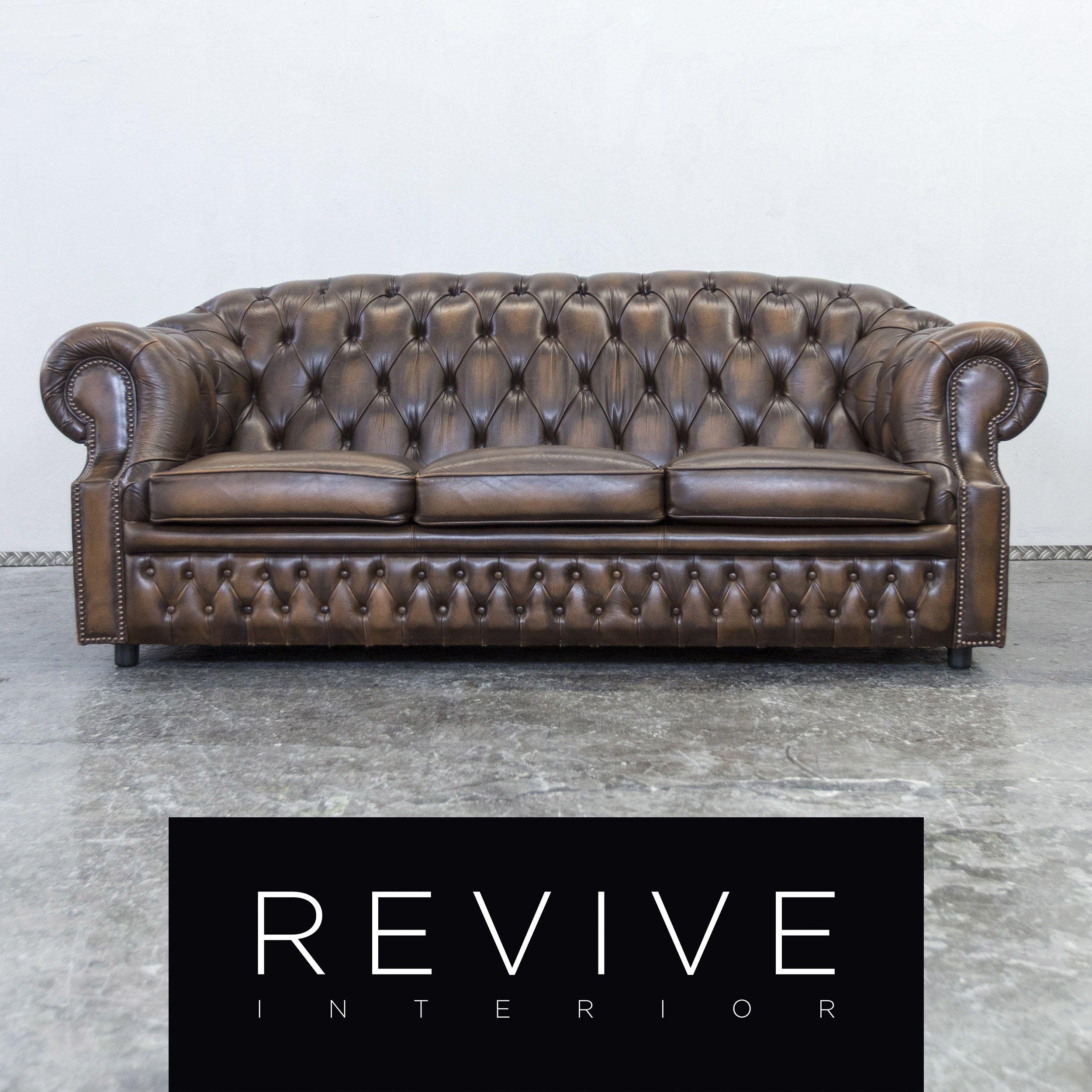 Centurion Chesterfield Leder Sofa Dreisitzer Couch Vintage Retro