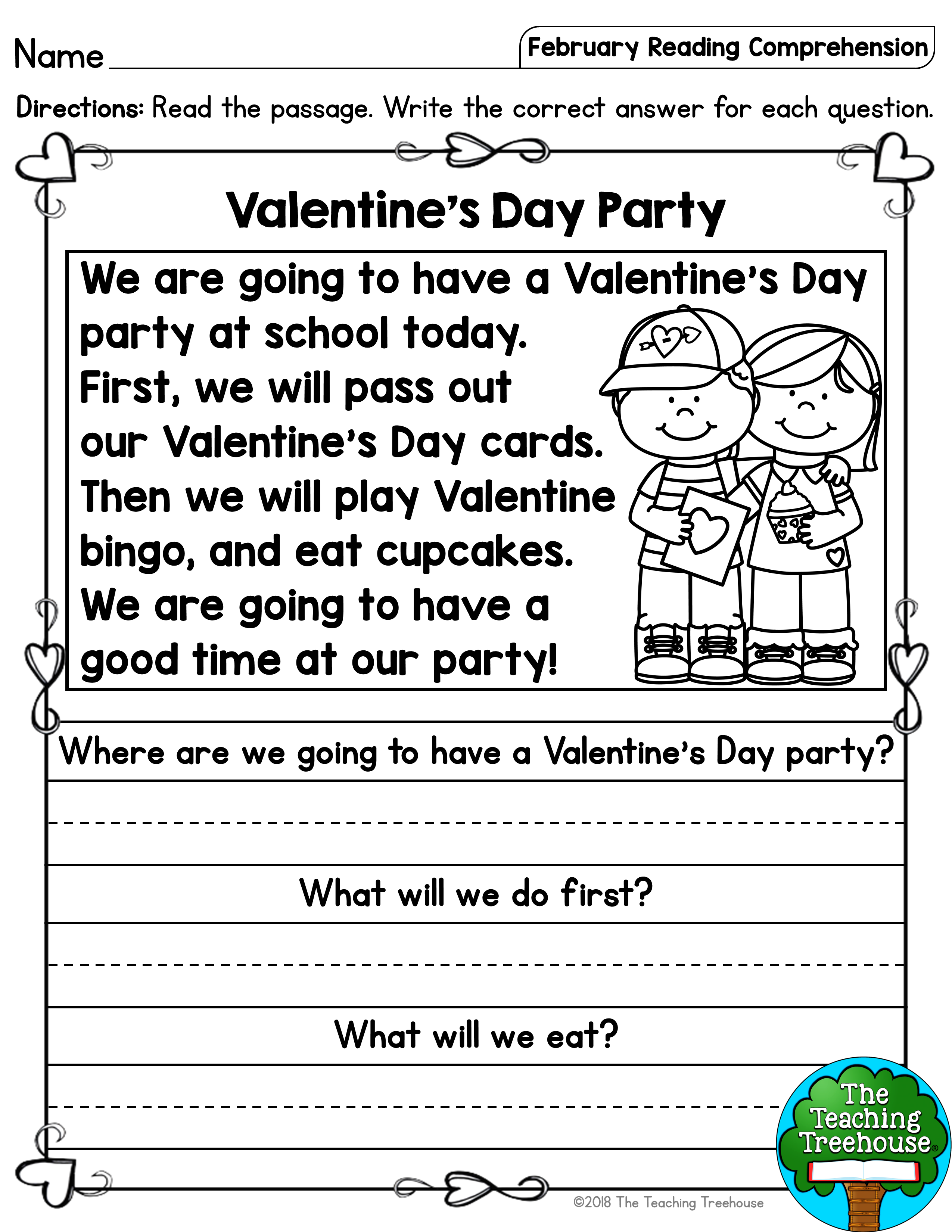 - February Reading Comprehension Passages For Kindergarten And First