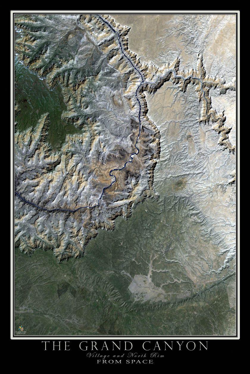 Satellite Map Of Arizona.Grand Canyon National Park Village Arizona Satellite Poster Map
