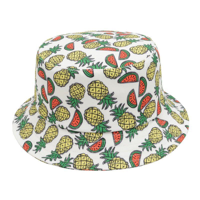 Watermelon Pineapple Printed Bucket Hats For Women Men New Fashion Lovely  Summer Casual Outdoor Sun Cap b8130f67239b
