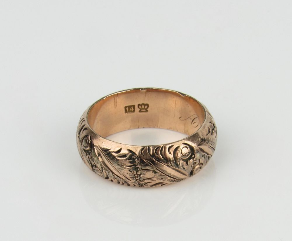 Antique Victorian Solid 14k Rose Gold Engraved Band Ring 8mm Wide Antique Jewelry Rose Gold Jewelry Wedding Ring Bands