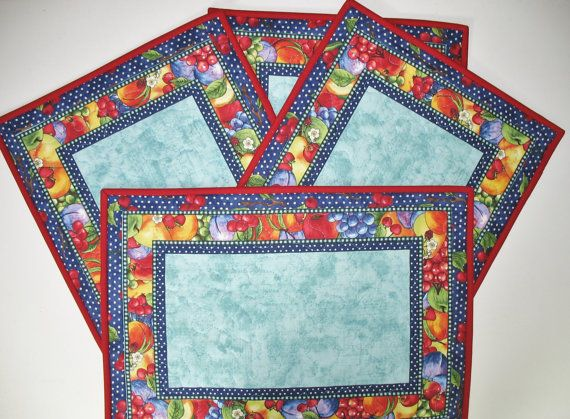 Fruit Place Mats Reversible Set of 4  fabric by PicketFenceFabric, $56.00