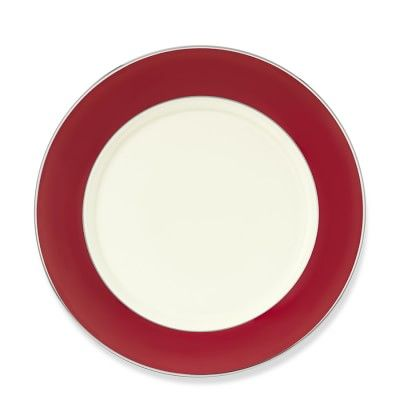 Pickard Color Sheen Dinner Plate, Red Platinum