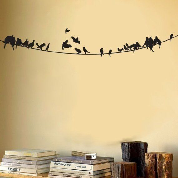 Birds sitting on a Powerline - Wall Decal - Your Choice of Color ...