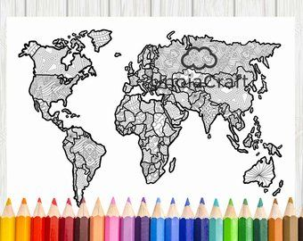 Blank world map coloring page printable world map sheet | Etsy ...