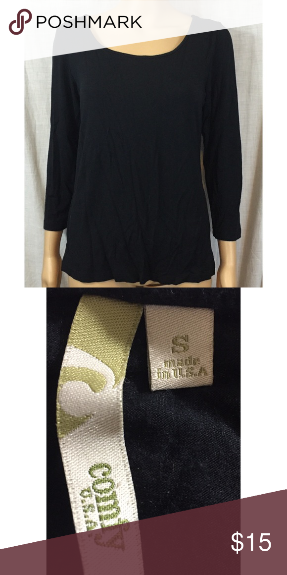 Comfy black tee round neck 3/4 sleeves Comfy ( both the brand name and a description )black tee round neck 3/4 sleeves Comfy Tops