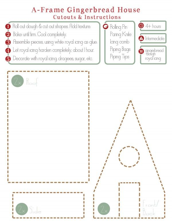 A Frame Gingerbread House Cutout And Instructions At Chasing