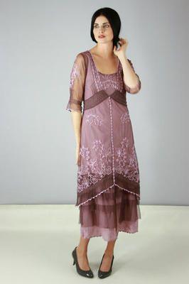 Nataya Vintage Inspired Art Noveau Dress with Ruffles Mauve Large w Lace Purse | eBay