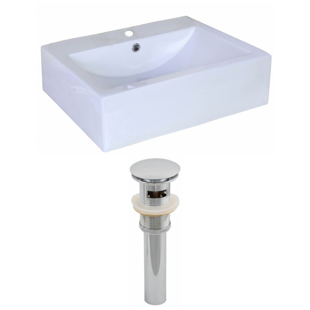 20 Inch W X 16 3 8 Inch D Rectangular Vessel Sink In White With