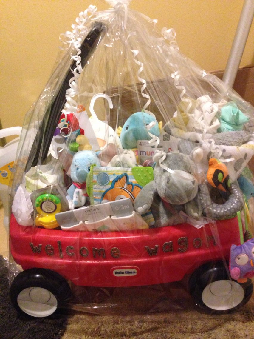 Gender neutral welcome wagon for baby shower!                                                                                                                                                                                 More