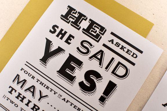 Vintage Newsprint Inspired Wedding Invitations Retro wedding