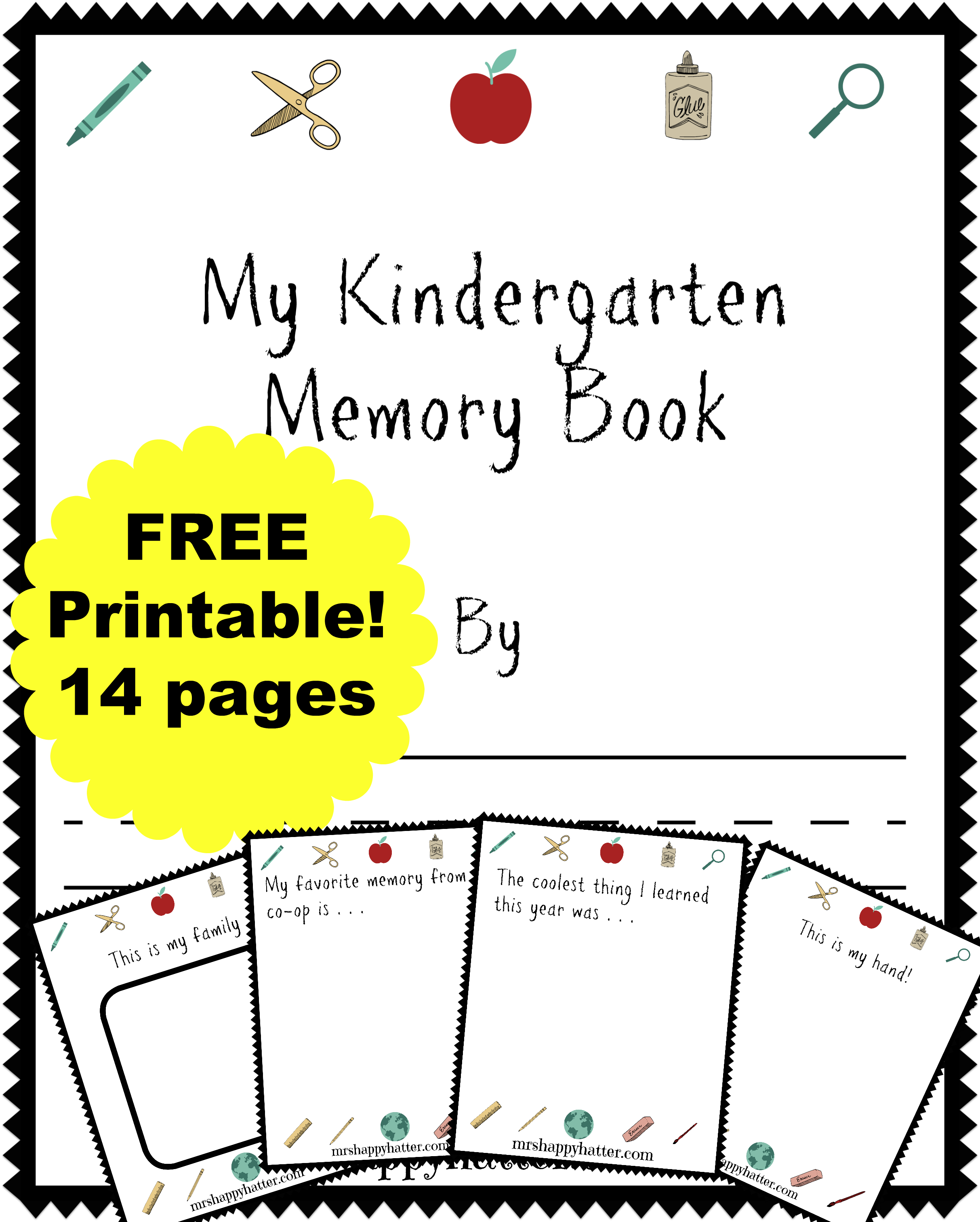 Free Kindergarten Memory Book Homeschool Edition
