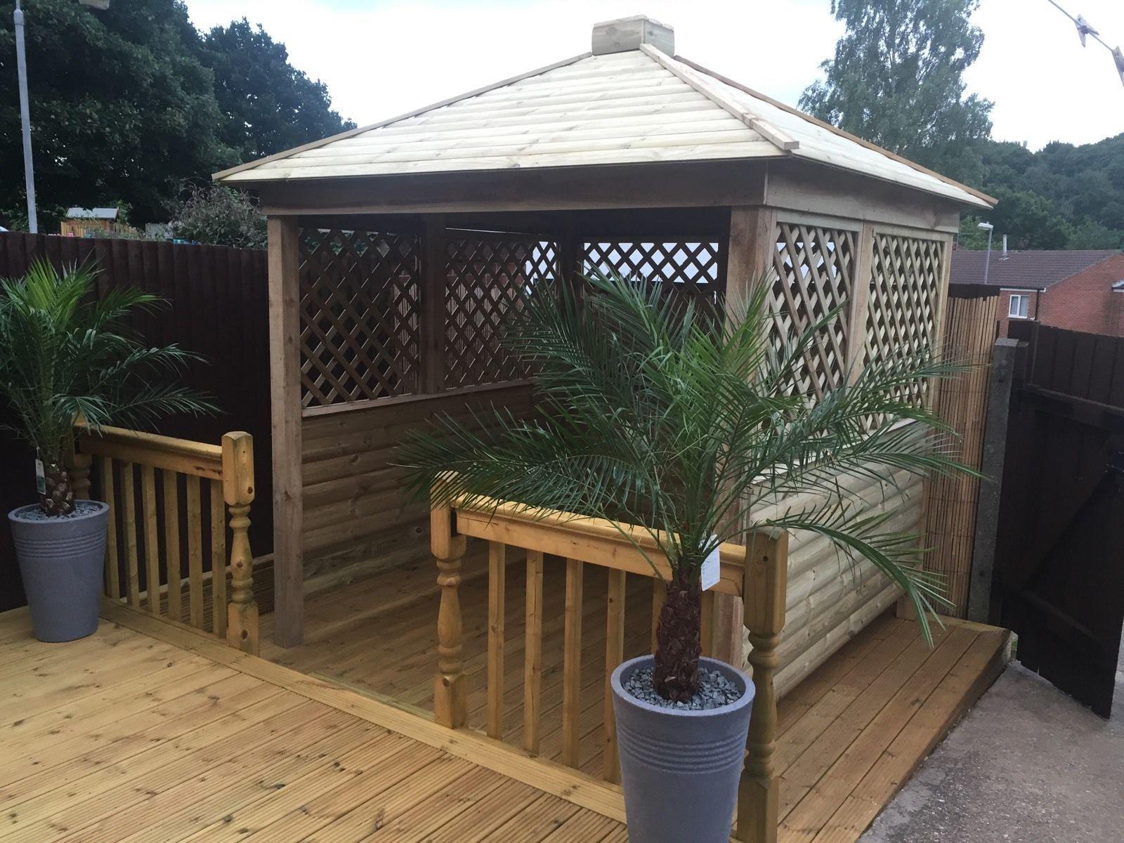 Gazebo Sale On Ebay - Gazebo hot tub shelter wooden seating area garden bar wood private and enclosed ebay