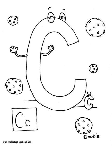 Letter C for cookie coloring page   Preschool Ideas   Pinterest