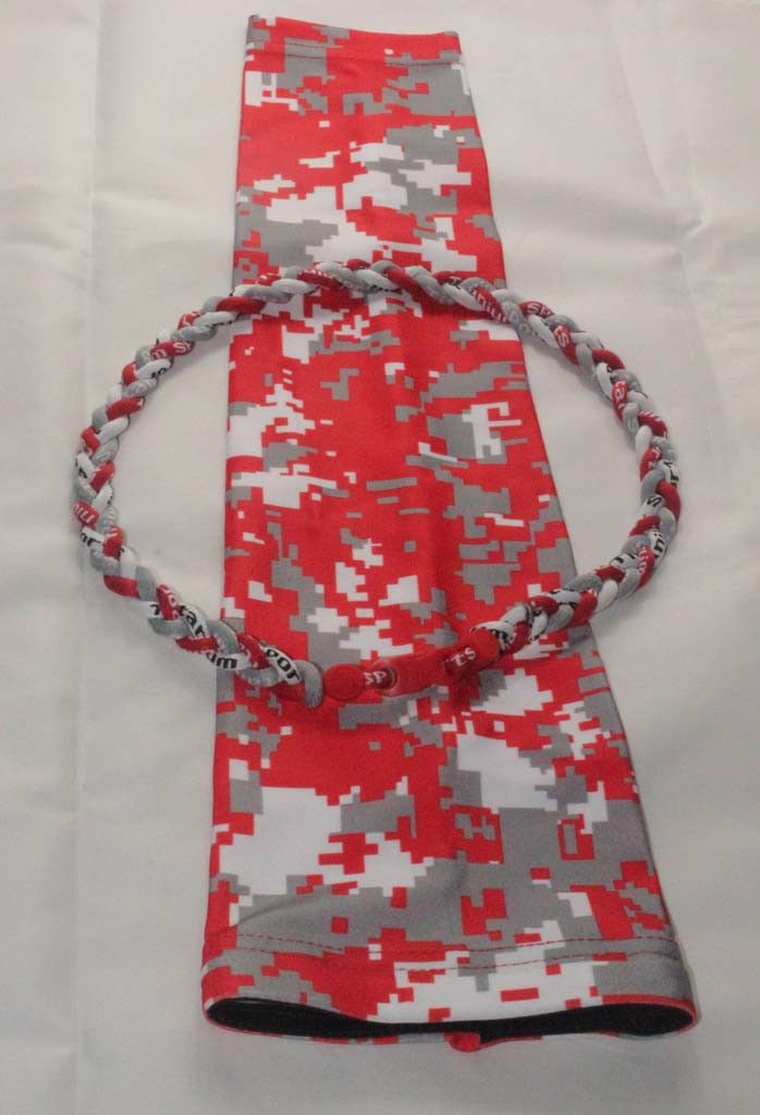 Red gray white Ohio States Buckeyes camo football compression arm sleeve with baseball tornado necklace