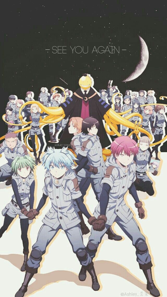 See You Again Text Moon Assassination Classroom Characters Class E End Class Uniforms Outfits Korosensei Assasination Classroom Anime Anime Wallpaper