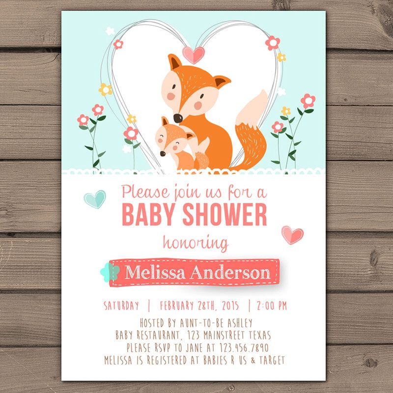 Fox Baby Shower invitation Baby Shower invite Floral Spring Fox ...