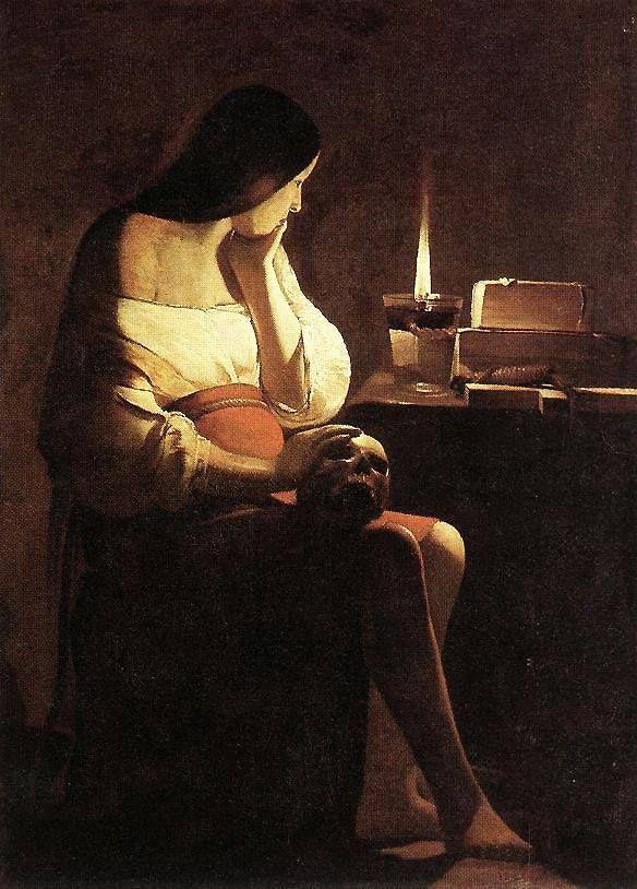 1640 1645 La Madeleine Penitente A La Veilleuse Ou La Madeleine Terff Georges De La Tour Avai Paintings Famous Mary Magdalene Oil Painting Reproductions