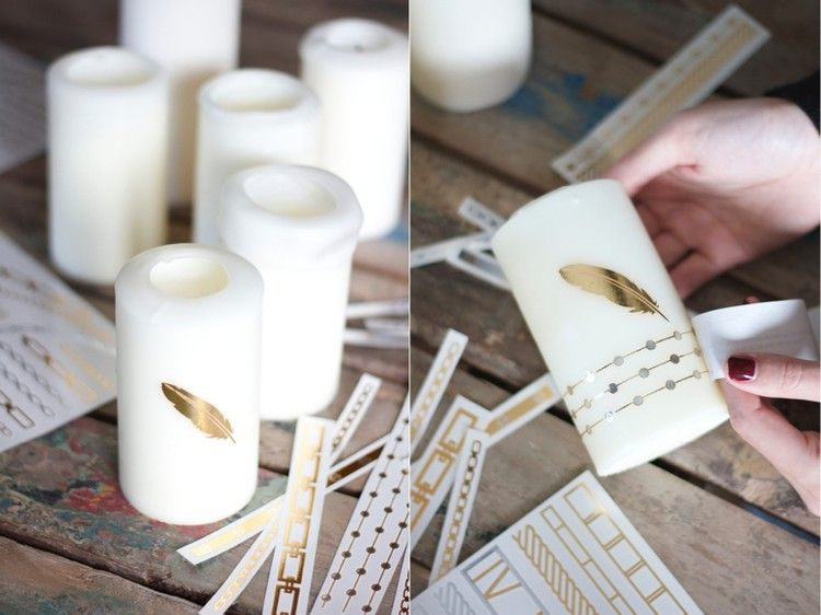 Kerzen Verzieren Mit Goldfarbenem Feder Motiv Kerzen Gestalten