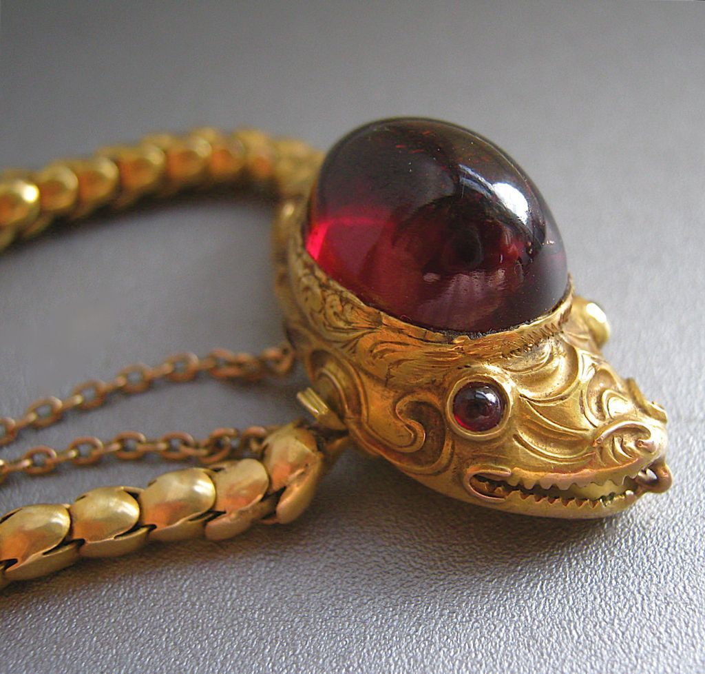 Antique Gold Charm Bracelet: Antique CARBUNCLE Garnet SNAKE Serpent 14K Gold Victorian