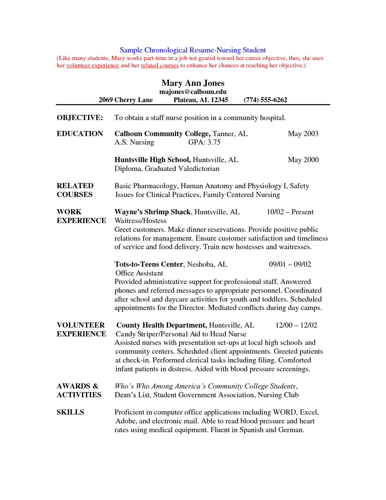 Nursing school resume examples