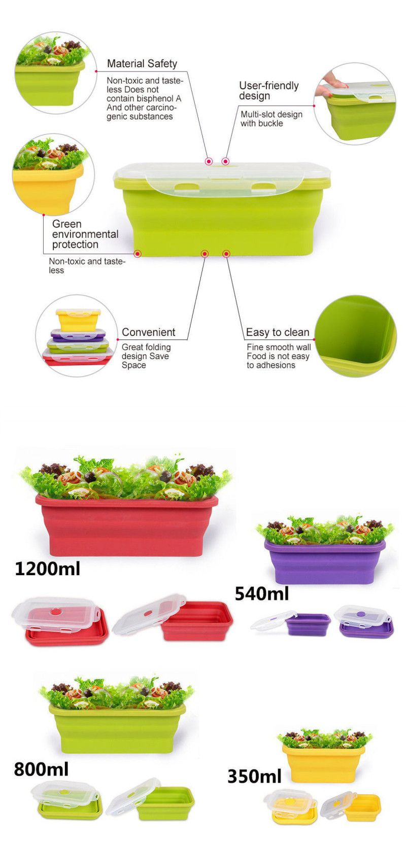 587b85a23b18 IPRee 4 Size Collapsible Silicone Lunch Boxes Portable Food Storage ...