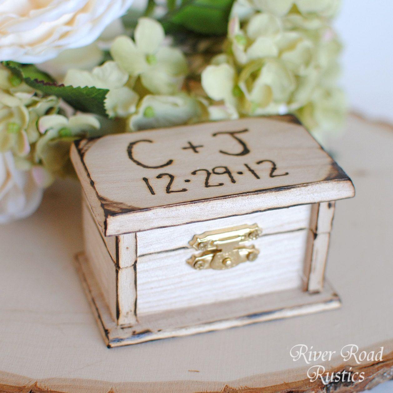 Petite rustic wedding ring box keepsake or ring bearer box petite rustic wedding ring box keepsake or ring bearer box personalized comes with burlap pillow junglespirit Images