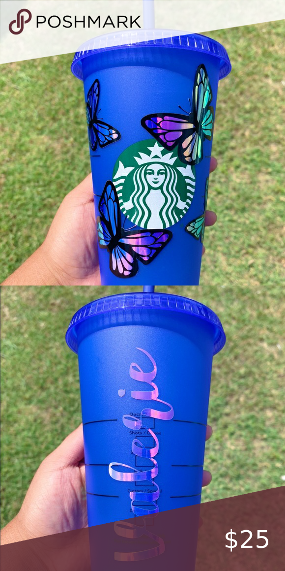 Butterflies On Blue Starbucks Color Changing Cup Starbucks Cup Art Custom Starbucks Cup Colored Cups