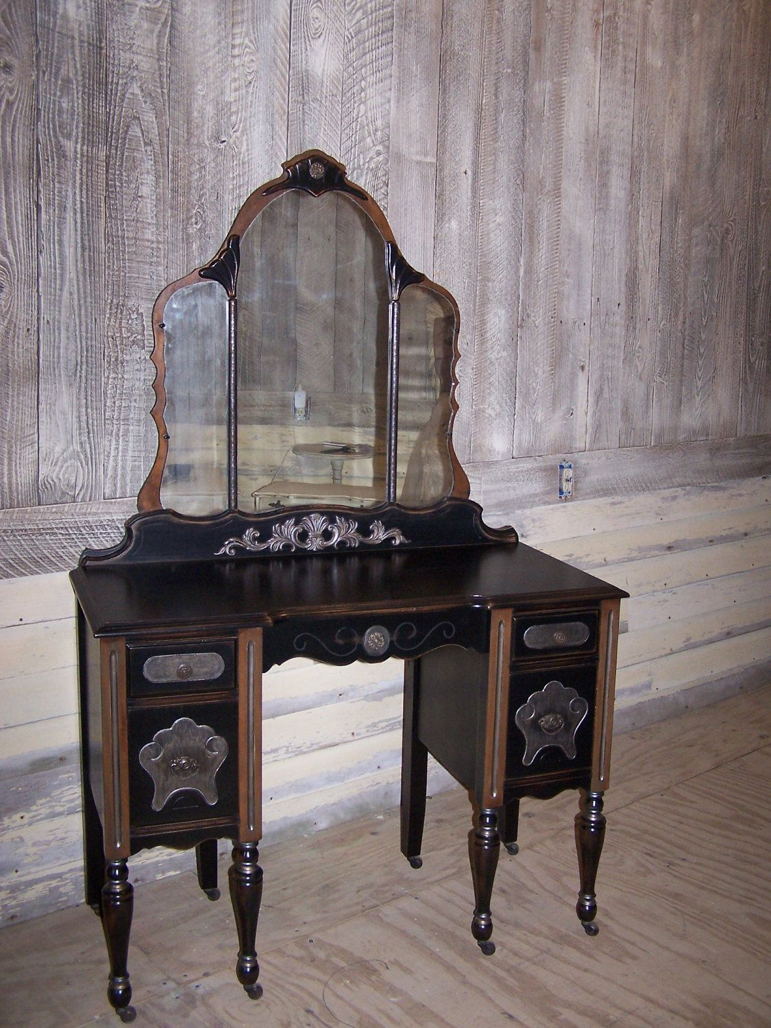 1920s Gorgeous And Glam One Of A Kind Vintage Vanity Desk Black