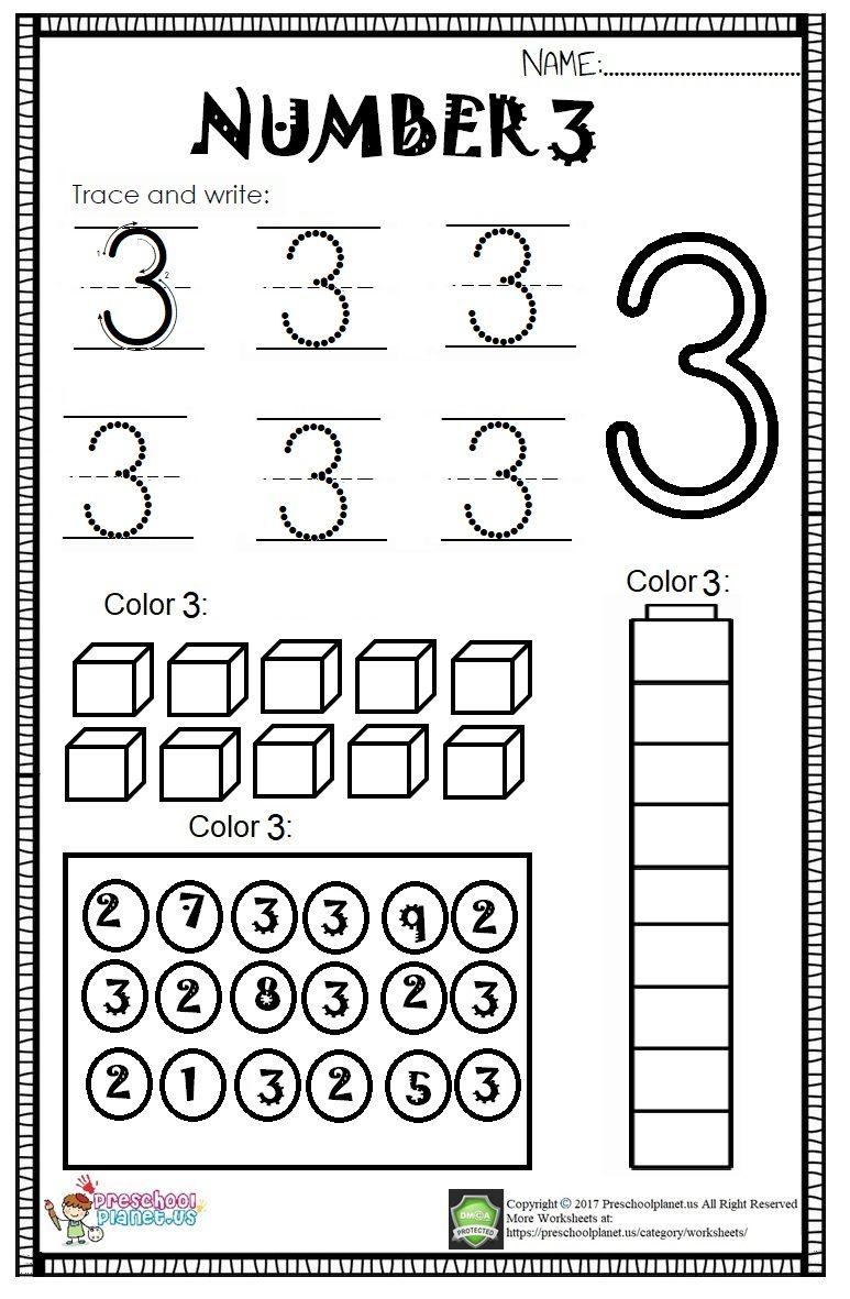 30++ Number 3 worksheets for preschool Top