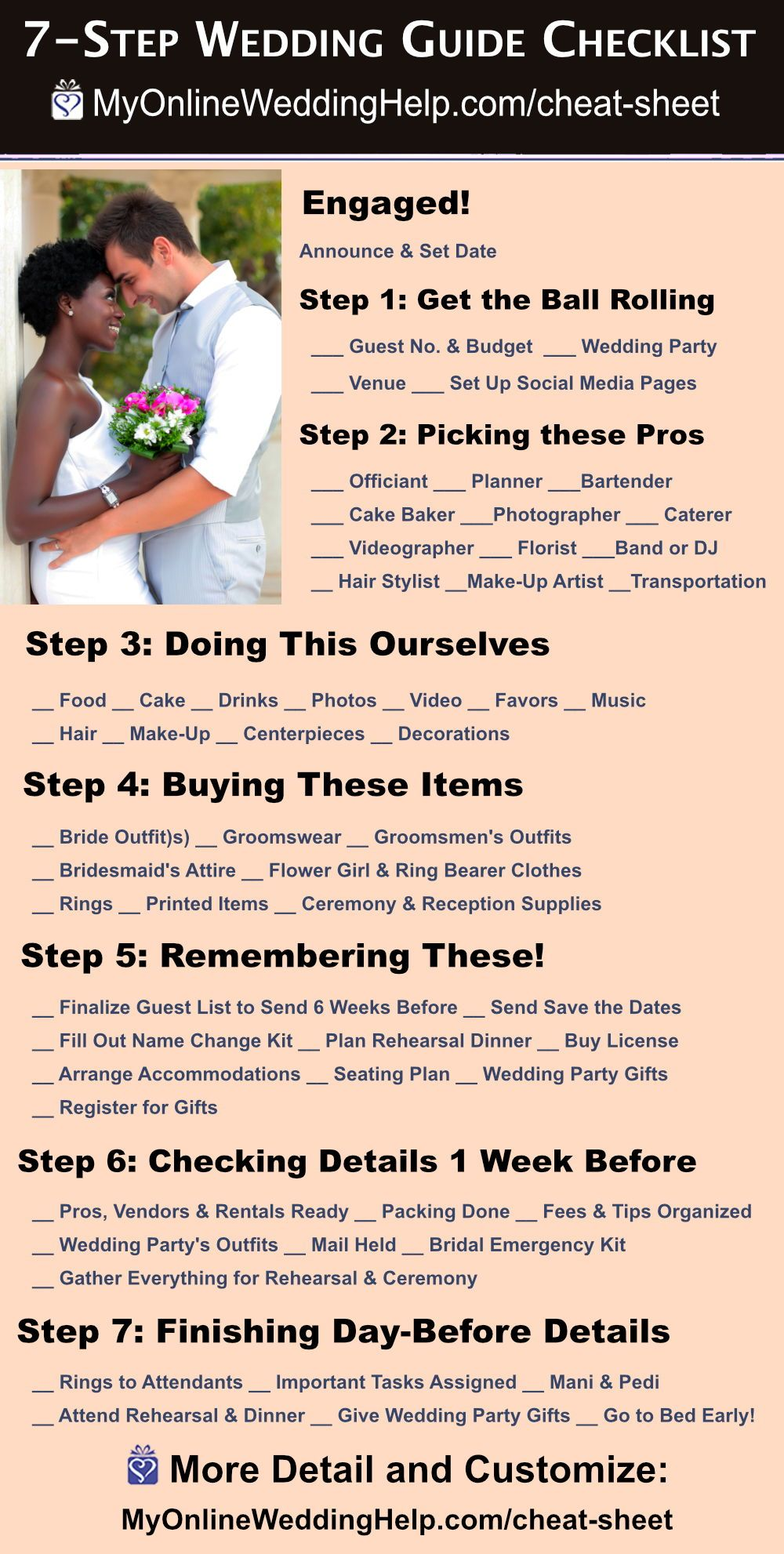 7 Step Wedding Guide Checklist And Printable Cheat Sheet Wedding Guide Checklist Simple Wedding Planning Checklist Wedding Guide