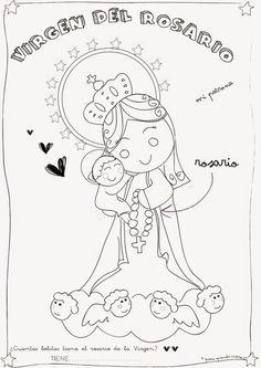 Resultado de imagen de virgen del rosario dibujo