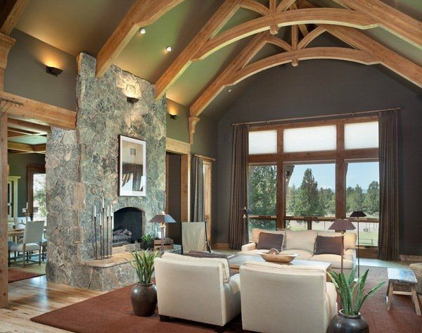 Rustic living room interior wall sconces cathedral ceiling Living room wall sconce ideas
