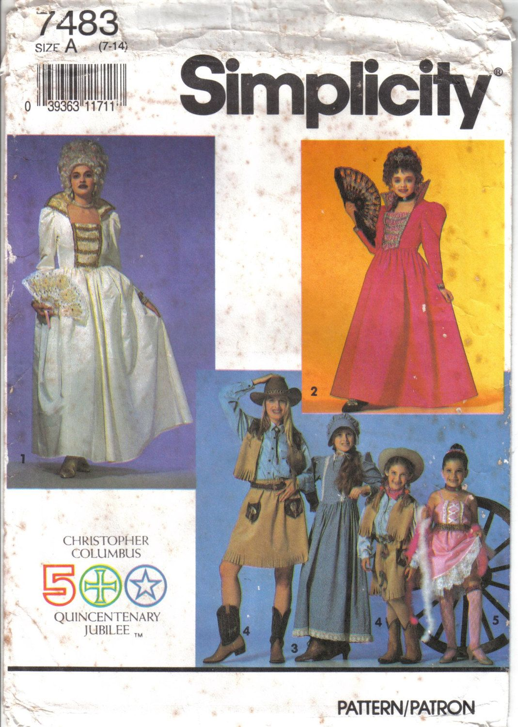 Vintage Simplicity Girl's Historical Costumes Pattern 7483 Size child's 7-14…