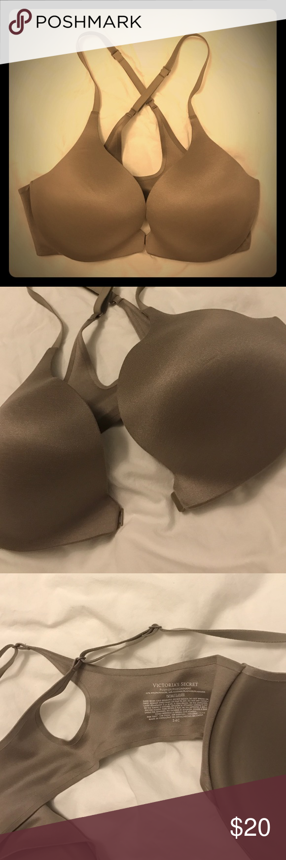 Racerback push-up bra Steel grey color racer-back push-up bra from Victoria's Secret. Comfortable and in good condition. Looks new! Victoria's Secret Intimates & Sleepwear Bras
