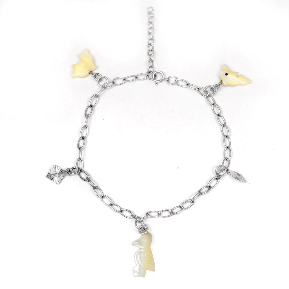 Orchid Jewelry 925 Sterling Silver 7 Carat Mother of Pearl Bracelet (Ojbr-6353MOP-Silver), Women's, Size: 7 Inch, White