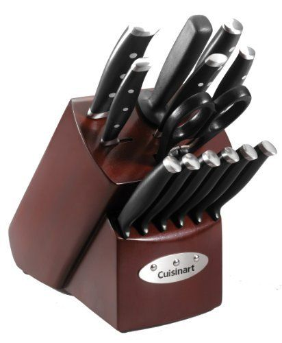 Cuisinart 14 Piece Triple Riveted Cherry Block Cutlery Set By Cuisinart 77 78 Set Includes 8 Inch Chef S Knife 7 Inch Slicer Cutlery Set Cuisinart Cutlery
