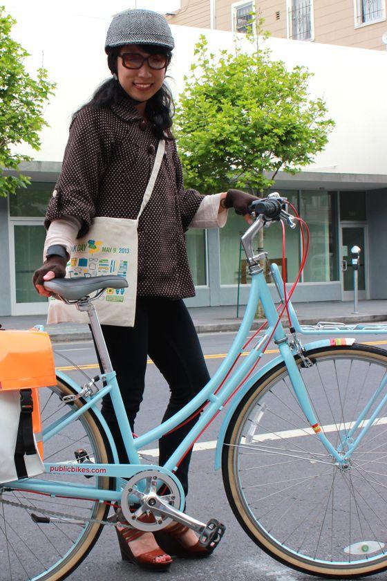 Bike To Work Day Street Style Biking Outfit Cool Bike Helmets