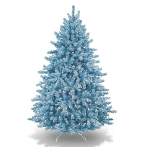pictures of white christmas trees with aqua blue decorations