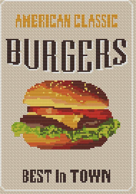 Hamburger Cross Stitch Pattern Kitchen decor Funny cross