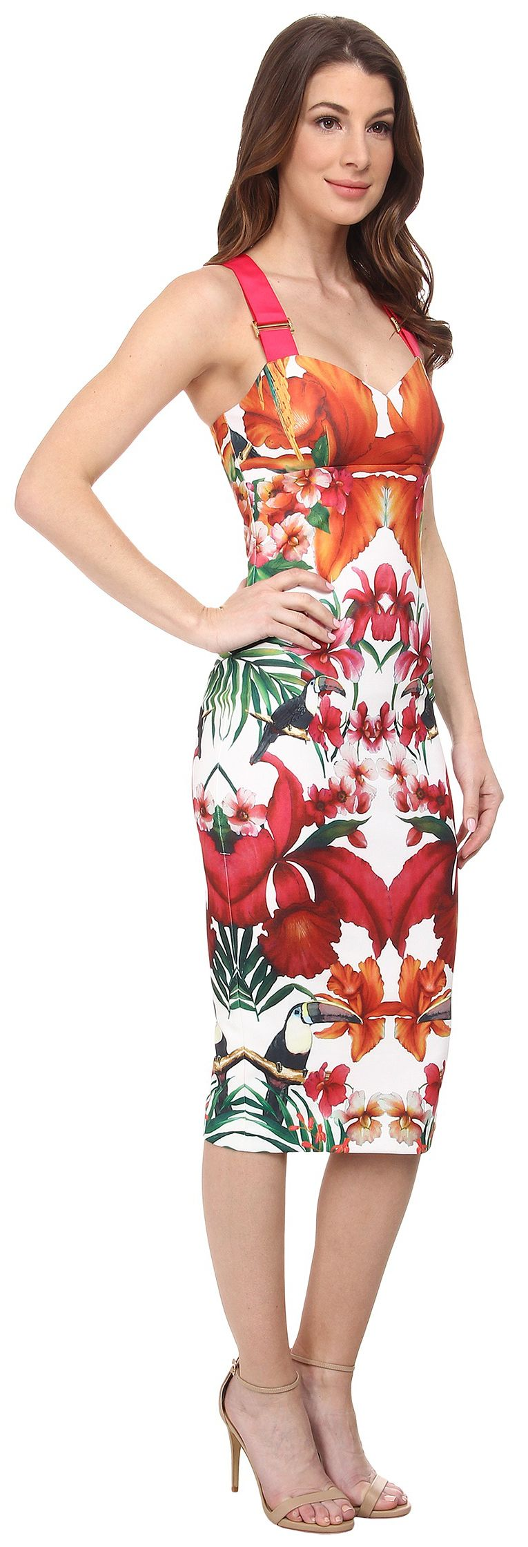 73b73fa4247d8  16 A95 D90 Ted Baker Jameela Tropical Toucan Midi Dress