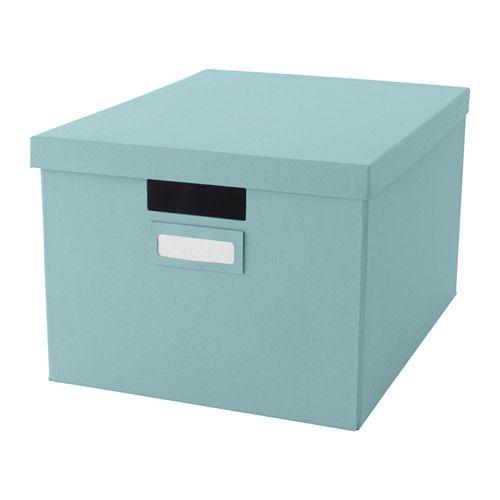 IKEA - TJENA, Caja con tapa, azul claro, , Ideal para documentos, fotografías y otros recuerdos.La caja es fácil de extraer y levantar porque es resistente y lleva asas integradas.Utiliza el portaetiquetas que se incluye para tener tus cosas organizadas y encontrar rápidamente lo que buscas.