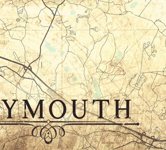 PLYMOUTH MA Canvas Print Massachusetts ma Vintage map town plan