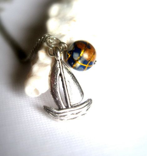 Sailing around the Globe Necklace Silver Sailboat by ACupOfSparkle