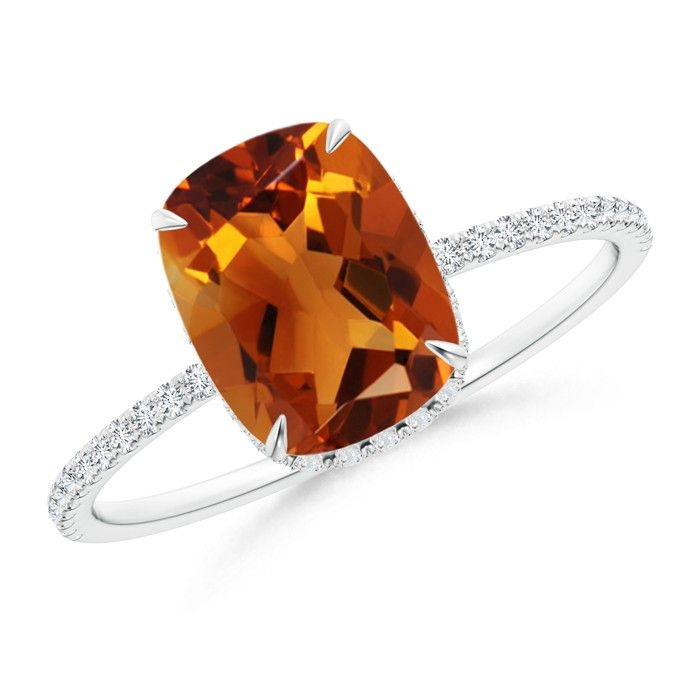 Angara Tapered Shank Citrine Solitaire Ring with Diamond Accents iJiIp0qDzZ