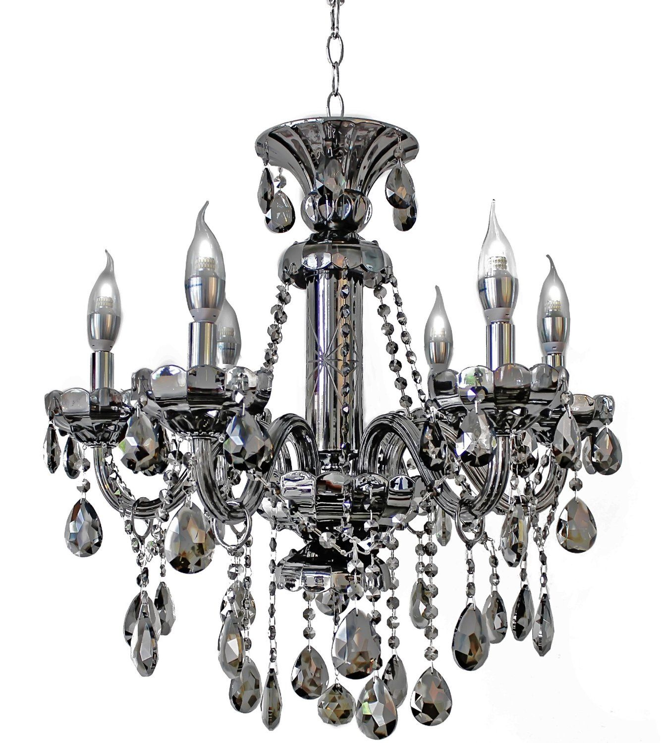 6 light Maria Theresa Crystal Chandelier Smoked Black Mirror