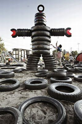 Cool Spaces for kids - tire playground